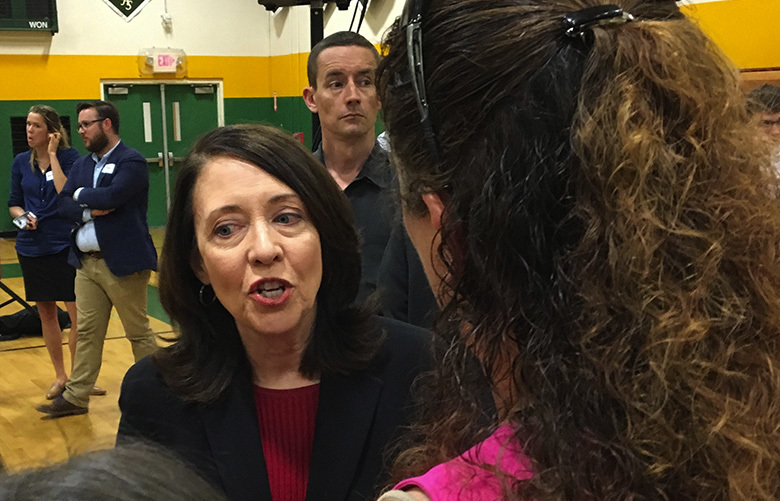 U.S. Sen. Maria Cantwell talks with constituents Saturday, July 8, 2017, after a Town Hall meeting in White Center.Credit: Bob Young/Seattle Times