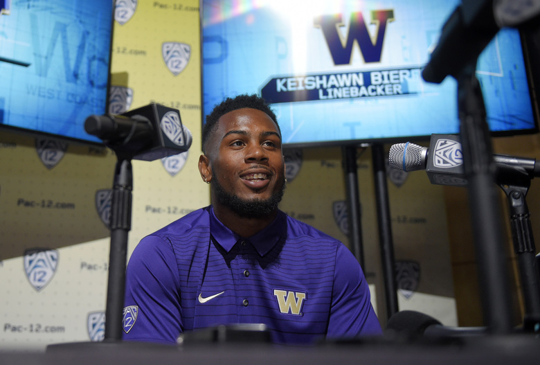 Washington's Keishawn Bierria speaks at the Pac-12 NCAA college football media day, Wednesday, July 26, 2017, in the Hollywood section of Los Angeles. (AP Photo/Mark J. Terrill)