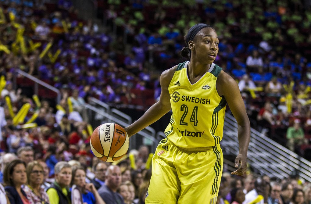 Storm guard Jewell Loyd looks for an open teammate in the Storm's game against the Connecticut Sun on Wednesday. (Kjell Redal / The Seattle Times)