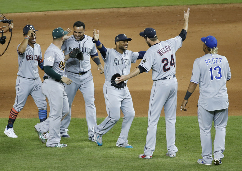 American League teammates celebrate winning the MLB baseball All-Star Game, Tuesday, July 11, 2017, in Miami. The American League defeated the National League 2-1 in ten innings. Seattle Mariners Robinson Cano (22), third from right, hit the game winning home run. (AP Photo/Wilfredo Lee) FLMP190 FLMP190 — FLMP190 (Wilfredo Lee/The Associated Press)