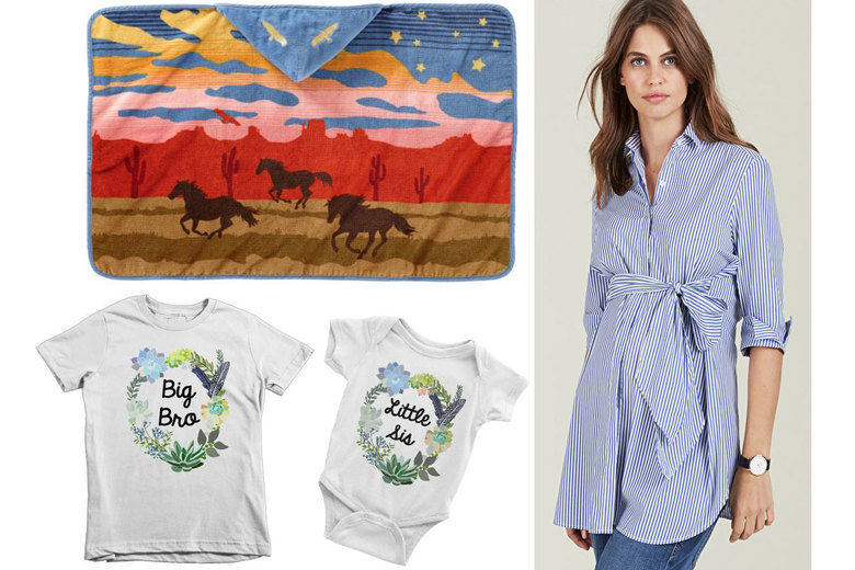 Clockwise from top left: Pendleton Wild Horses Hooded Baby Towel, $39.50; Isabella Oliver Dora Maternity Shirt, $145; RubyRoo Baby Sibling Sets, $24.50 each
