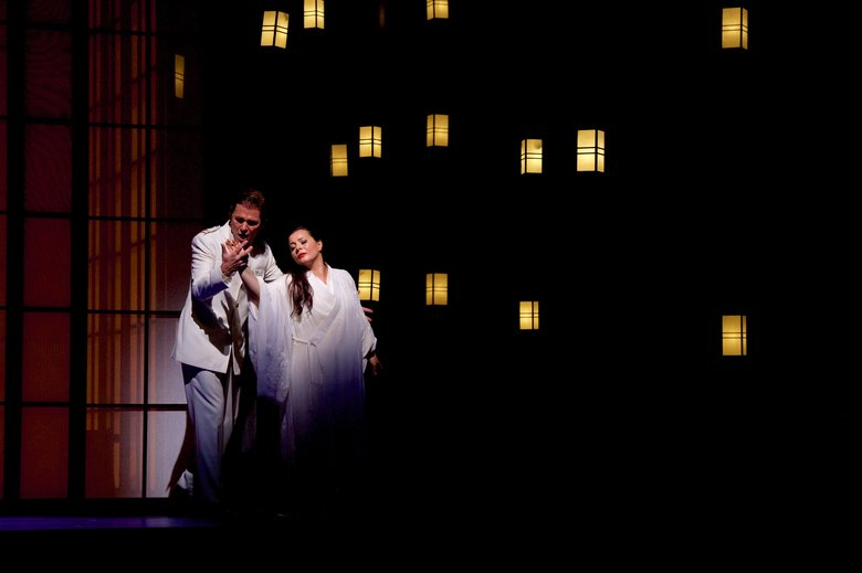 "Alexey Dolgov as Pinkerton and Lianna Haroutounian as Cio-Cio-San in Seattle Opera's ""Madame Butterfly."" (Jacob F. Lucas)"