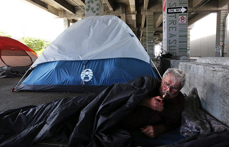 "Stephen, 70, lives on a social security.  He says, ""we find our own food.  We find our own bathroom. That's the way it is.""  He prefers the sleeping bag to a tent.  He was a warehouse worker and truck driver.  He says, ""this can happen to them (people with jobs) at any time.""