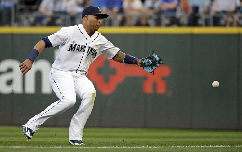 Seattle Mariners right fielder Leonys Martin chases a double down the line from Baltimore Orioles' Manny Machado in the third inning of a baseball game Tuesday, Aug. 15, 2017, in Seattle. (Elaine Thompson/AP)