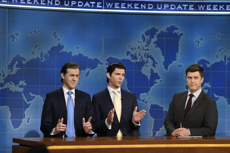 "On ""Saturday Night Live,"" Alex Moffat plays Eric Trump, left, and Mikey Day is Donald Trump Jr., center. (Rosalind O'Connor/NBC via AP, file)"