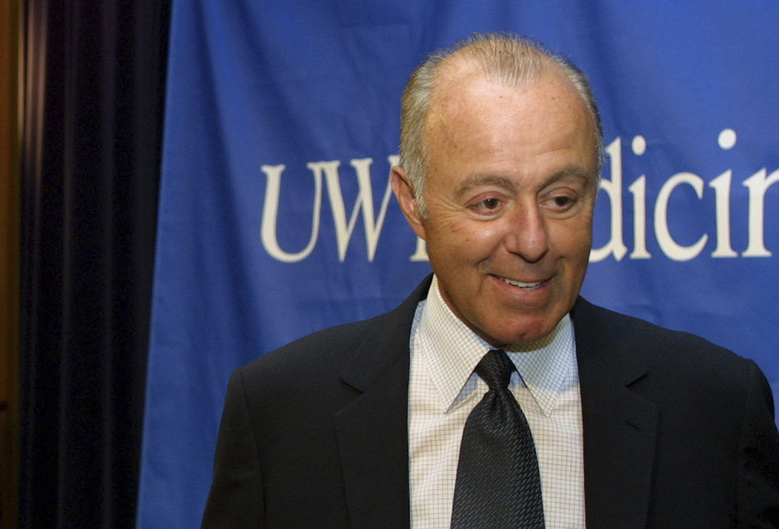 Jeff Brotman, Chairman of Costco Wholesale Corporation, speaks during a news conference at the University of Washington in Seattle, 2003. On Tuesday, Aug. 1, Costco Wholesale Corp. announced the death of Brotman, its co-founder and board chairman. Brotman opened Costco's first warehouse with Jim Sinegal in 1983 in Seattle.  (RALPH RADFORD/AP)