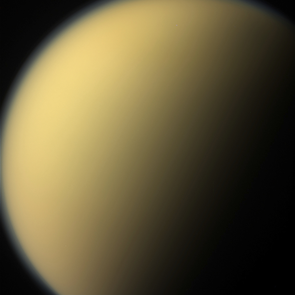 This Wednesday, Sept. 13, 2017 image made available by NASA on Friday, Sept. 15, 2017 shows the atmospheric haze on the moon Titan as seen from the Cassini spacecraft on its descent towards Saturn. The probe disintegrated in the skies above the ringed planet early Friday after a 20-year mission. (NASA/JPL-Caltech/Space Science Institute via AP)