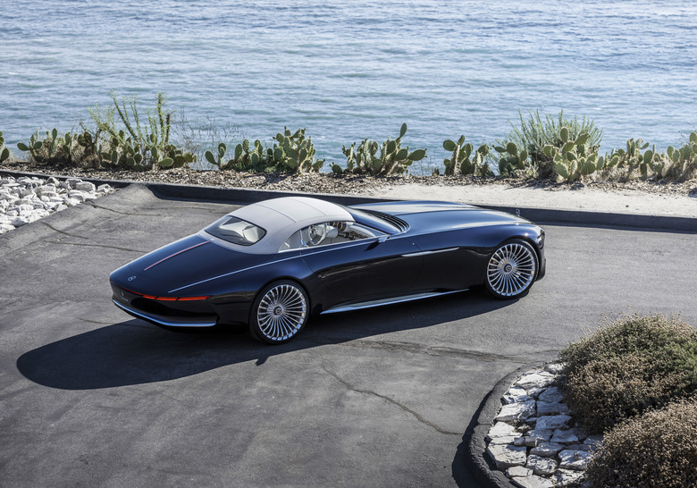 The image provided by Daimler shows the Vision Mercedes-Maybach 6 Cabriolet. The concept car will be presented at the  Frankfurt International Motor Show, which opens for journalists Tuesday and Wednesday and to the general public from Saturday through Sept. 24, 2017. (Daimler AG via AP)