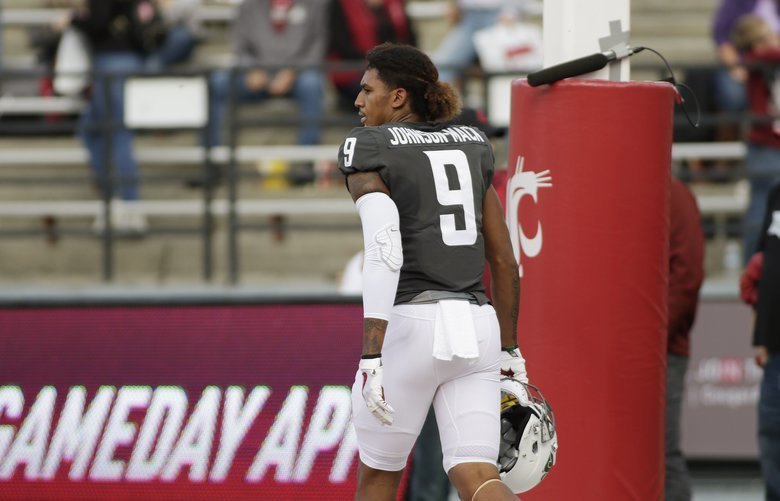 Washington State wide receiver Isaiah Johnson-Mack (9) walks on the field before an NCAA college football game against Nevada in Pullman, Wash., Saturday, Sept. 23, 2017. (AP Photo/Young Kwak) OTK OTK