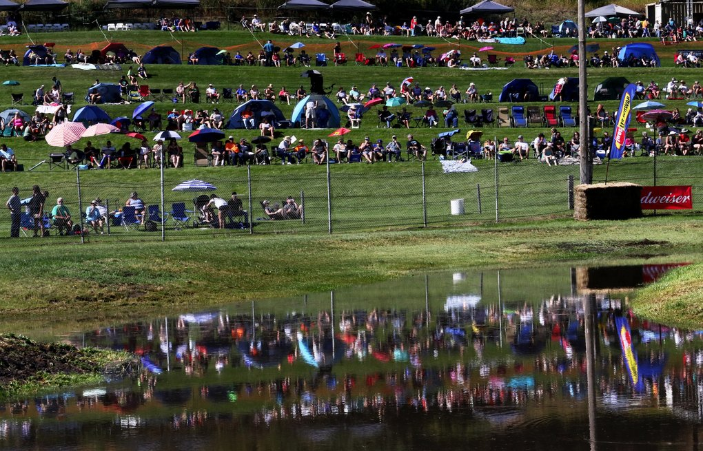 The terraced hill above Webb's Slough provides a clear view of the track for spectators. (Alan Berner/The Seattle Times)