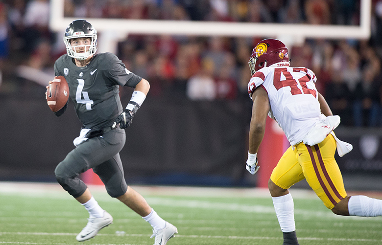 Washington State Cougars quarterback Luke Falk (4) runs against USC during the first half of college football game on Friday, September 29, 2017, at Martin Stadium in Pullman, Wash Tyler Tjomsland/THE SPOKESMAN-REVIEW