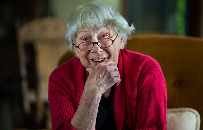 Rose Crumb, 91, founder of Volunteer Hospice of Clallam County, during an interview in her home in Port Angeles, Wash. on Tuesday, September 26, 2017. (Photo by Dan DeLong)