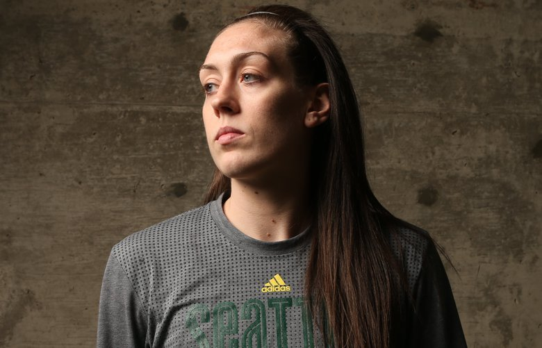 Breanna Stewart, rookie for the Seattle Storm, was the WNBA's first overall draft pick. She is a highly decorated player and just graduated from the University of Connecticut, a four-time NCAA national champion.  Photographed at Seattle Pacific University's Royal Brougham Pavilion, where the Storm practice, Wednesday May 11, 216.