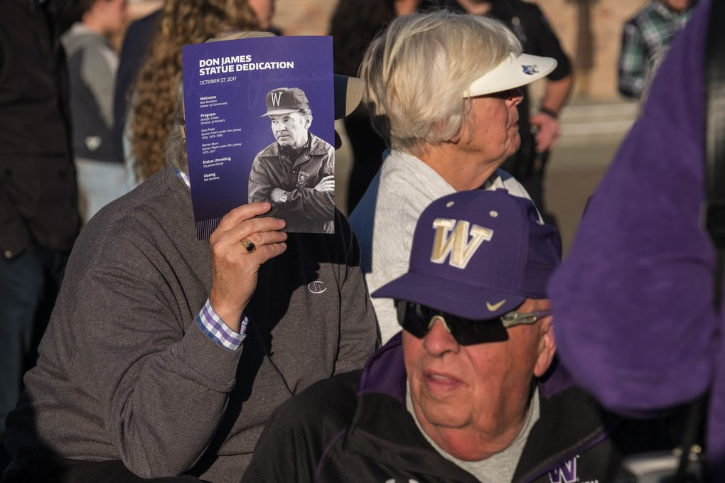 A brilliant sun greets those coming to Husky Stadium Friday for the unveiling of Don James statue.  (Dean Rutz / The Seattle Times)
