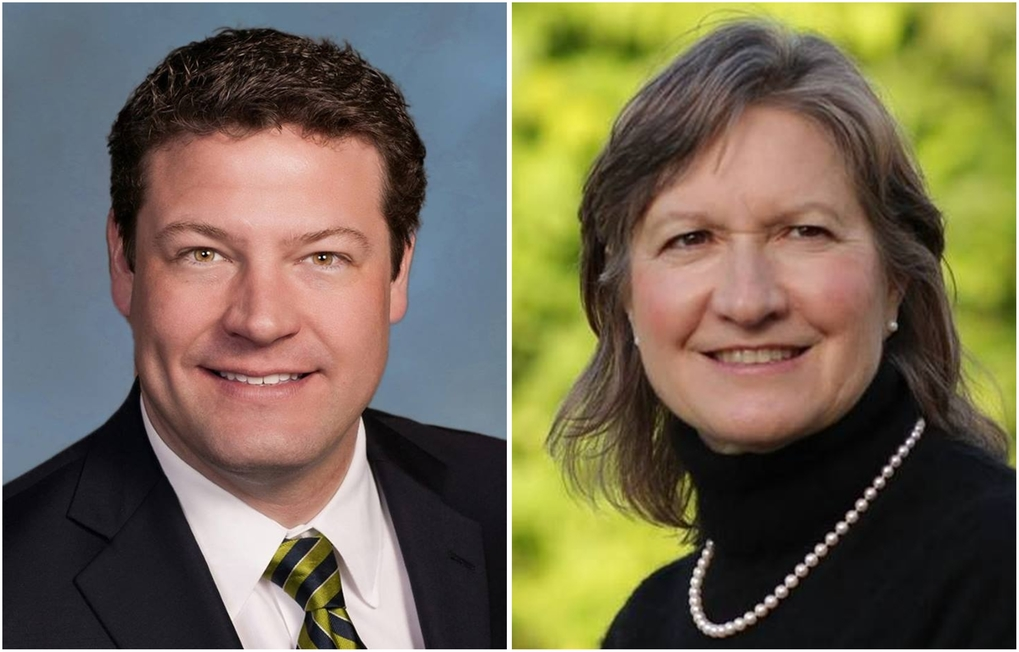 Reagan Dunn, left, and Denise Carnahan are running for Metropolitan King County Council, District No. 9 in the 2017 election.  (Courtesy of candidates)