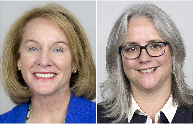 Candidate for Mayor of Seattle, Jenny Durkan, left, and Cary Moon, right.   Thursday June 29, 2017 at The Seattle Times studio.   Jenny Durkan photographed (Bettina Hansen / The Seattle Times) Cary Moon photographed by (Kjell Redal/The Seattle Times)