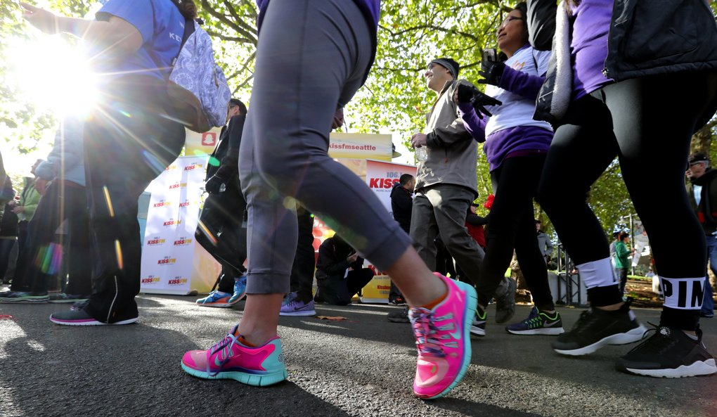 Almost 10,000 took to the course in and around Seattle Center on Saturday during the annual Puget Sound Heart Walk. An additional 4,000 in Tacoma did the same, raising a combined $1.9 million in the two cities.  (Alan Berner/The Seattle Times)