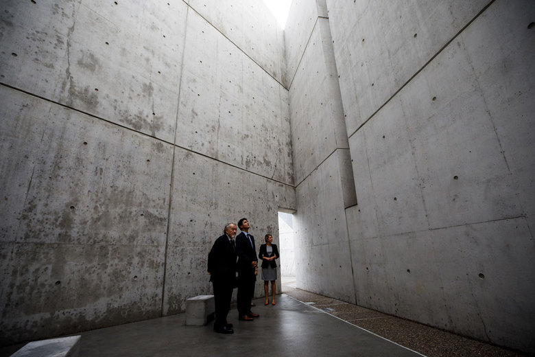 Prime Minister Justin Trudeau of Canada, center, tours the newly inaugurated National Holocaust Monument in Ottawa. (CANADIAN PRIME MINISTER'S OFFICE/NYT)
