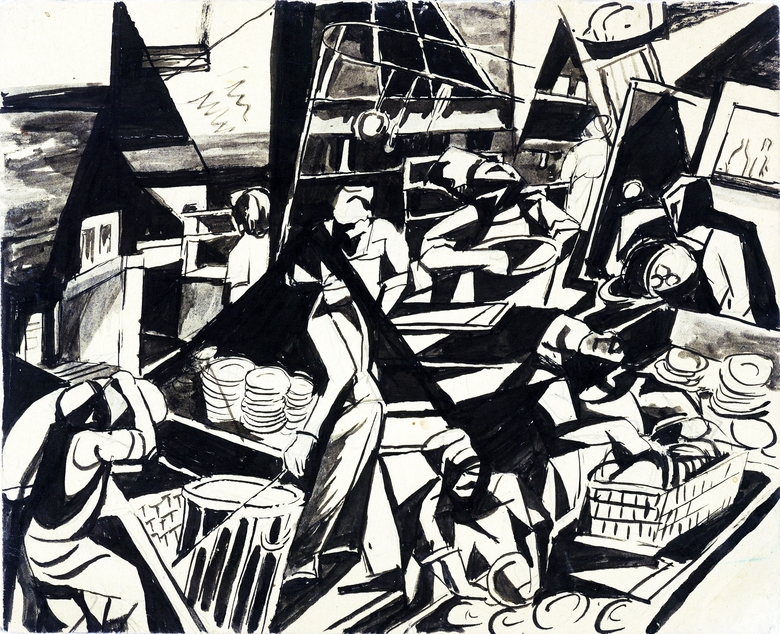 Takuichi Fujii, Minidoka, mess hall abstraction, (not dated). Ink on paper, 6 — 7 inches. (Credit: Collection of Sandy and Terry Kita, Courtesy of Washington State Historical Museum)