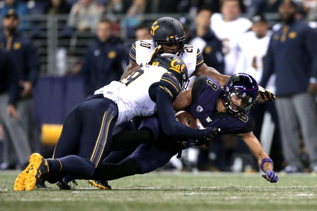 Dante Pettis (8) of the Washington Huskies dives for extra yards during a game against the California Golden Bears at Husky Stadium in Seattle on Saturday. (Courtney Pedroza / The Seattle Times)