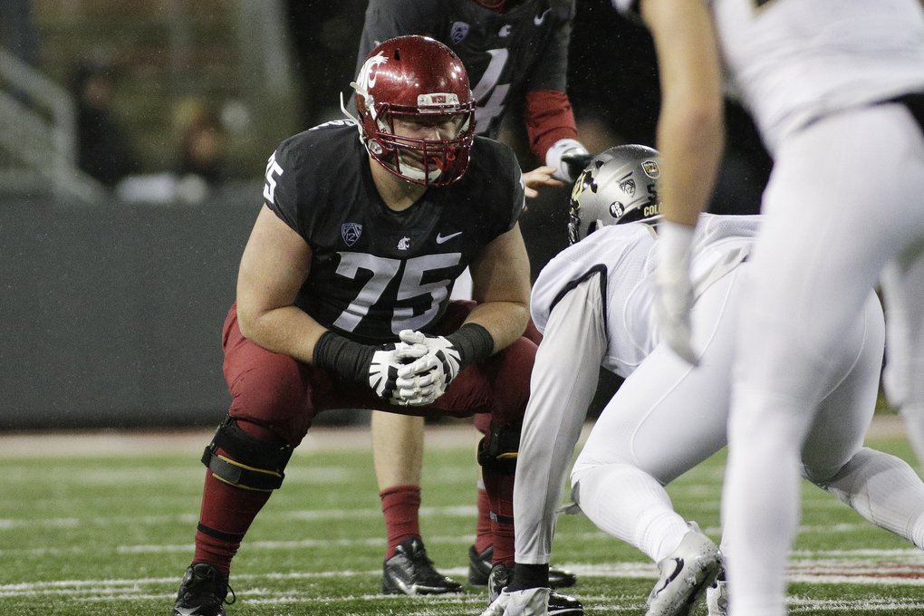 Washington State offensive lineman B.J. Salmonson (75) lines up for a play during the second half of an NCAA college football game against Colorado in Pullman, Wash., Saturday, Oct. 21, 2017. (AP Photo/Young Kwak)
