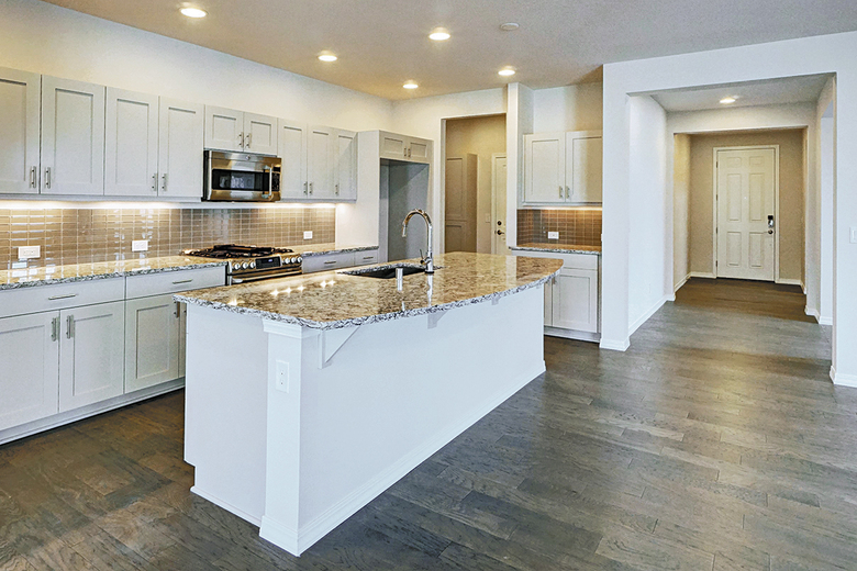The quick-move-in homes include options and upgrades chosen by the builder's design team.