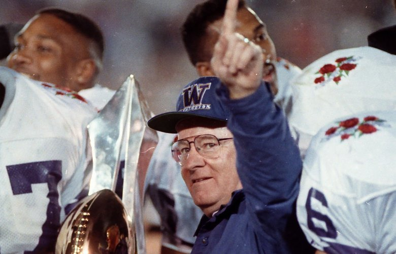 DON JAMES, AFTER HIS 1991 HUSKIES BEAT MICHIGAN 34-14 IN THE ROSE BOWL TO CAP A 12-0 SEASON, SEEMED TO KNOW WHAT WAS COMING UW'S WAY THE NEXT DAY – A SHARE OF NO. 1. WASHINGTON WAS VOTED TOPS IN THE FINAL COACHES' POLL, FOR THE FIRST AND ONLY TIME.   Tyrone Rodgers, number 57, cheers. Ran 1-2-92.  Coach Don James celebrates with his team after the Huskies beat Michigan 34-14 in the 1992 Rose Bowl. Washington earned a share of the national title.