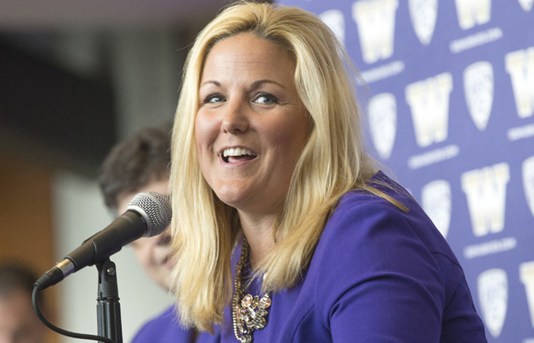 Jennifer Cohen is introduced as the new athletic director at the University of Washington.  (Mike Siegel/The Seattle Times)