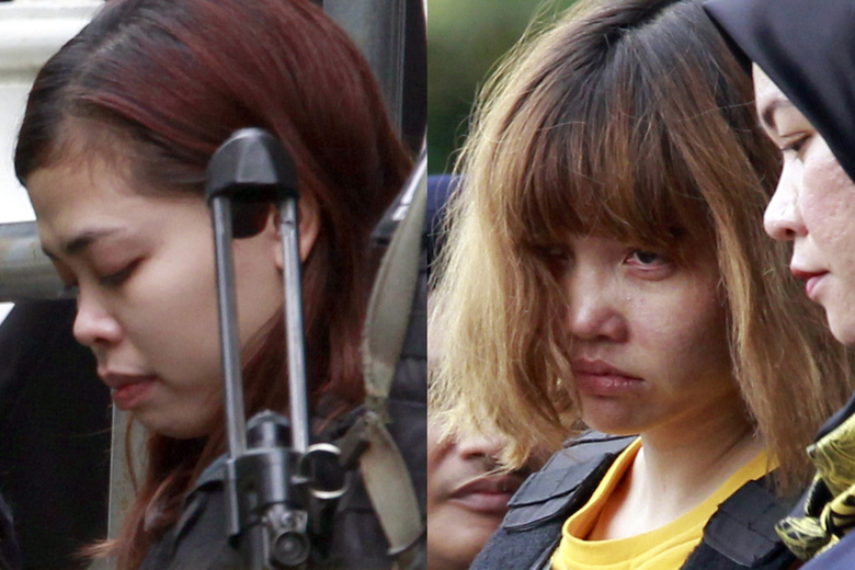 FILE – In this combination of March 1, 2017, file photos, Indonesian suspect Siti Aisyah, left, and Vietnamese suspect Doan Thi Huong, both suspects in the killing of Kim Jong Nam, North Korean leader Kim Jong Un's estranged half brother, are escorted out of court by police officers in Sepang, Malaysia. The trial of two women accused of poisoning the estranged half brother of North Korea's ruler is scheduled to begin Monday, Oct. 2, 2017,  in Malaysia's High Court, nearly eight months after the brazen airport assassination.(AP Photo/Daniel Chan, File)