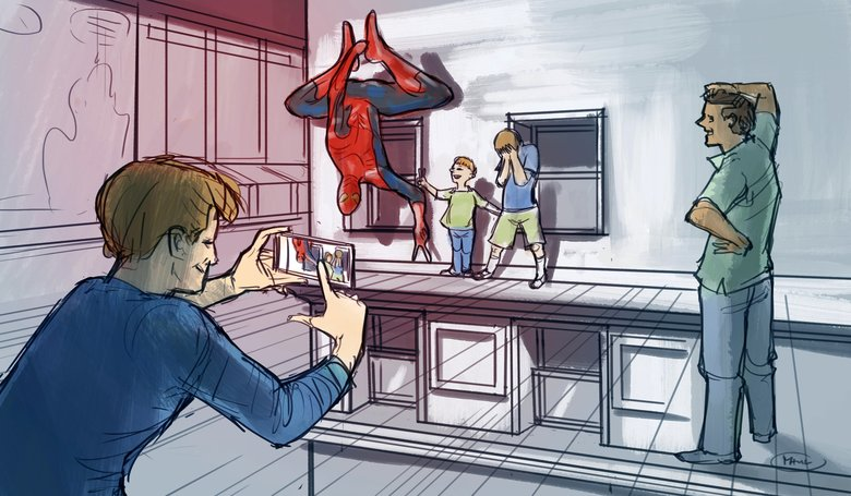 Statues of superheroes including Spider-Man will be part of the exhibition, with visitors encouraged to interact with some of the sets. (Concept artwork by Studio TK)