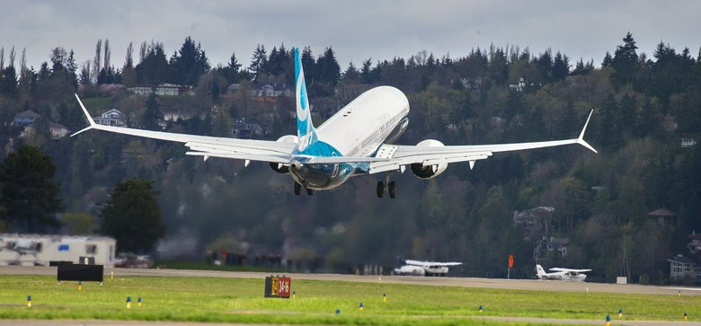 Boeing reached an agreement with low-cost carrier FlyDubai to sell 225 Boeing 737 MAX aircraft.  A 737 MAX is shown taking  off from the Renton Municipal Airport in April. (Mike Siegel / The Seattle Times)
