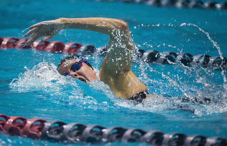 Lakeside's Nathalie Valdman competes in the 200-yard freestyle race at the 3A Girls State Swim and Dive Championships at the King County Aquatics Center in Federal Way, Wash., on Friday, Nov. 10, 2017.