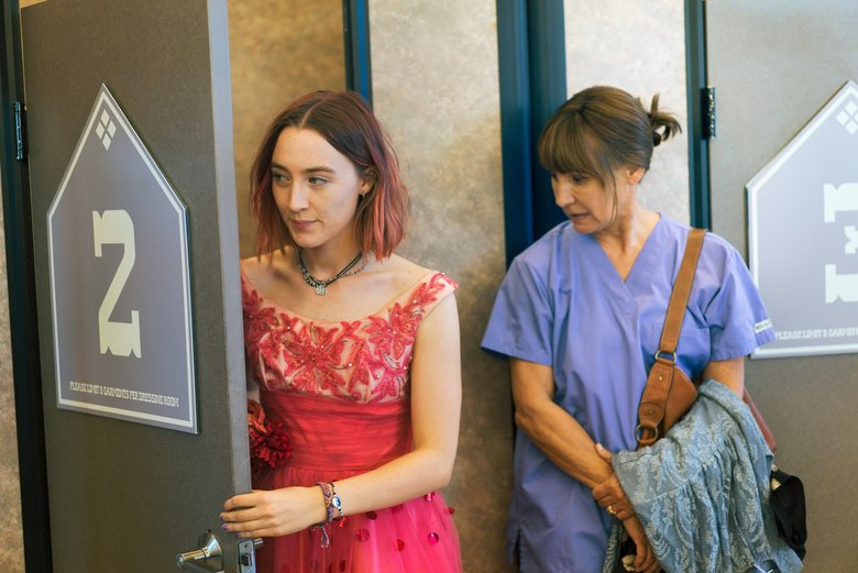 "This image released by A24 Films shows Saoirse Ronan, left, and Laurie Metcalf in a scene from ""Lady Bird."" (Merie Wallace / The Associated Press)"