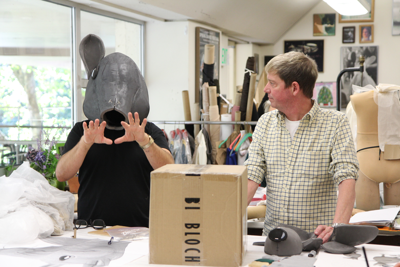 "Designer Erik Andor tries on a ""Nutcracker"" mouse head with costume and scenic designer Ian Falconer. (Photo by Lindsay Thomas)"