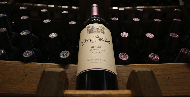 Only a fraction of Chateau Ste. Michelle's wine portfolio looms large at its visitors center in Woodinville. (Ken Lambert / The Seattle Times)