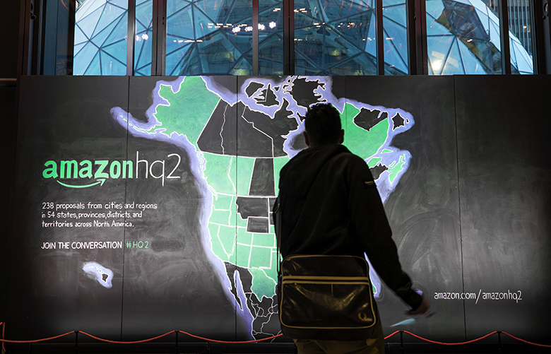 A chalk depiction of the 238 proposals from cities and regions in 54 states, provinces, districts and territories across North America that Amazon received in regards to HQ2 locations.