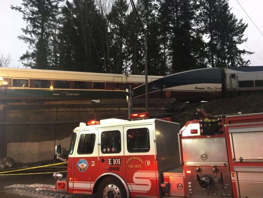 The scene of a train derailment near Mounts Road and Interstate 5 on Monday. (Pierce County Sheriff's Department)