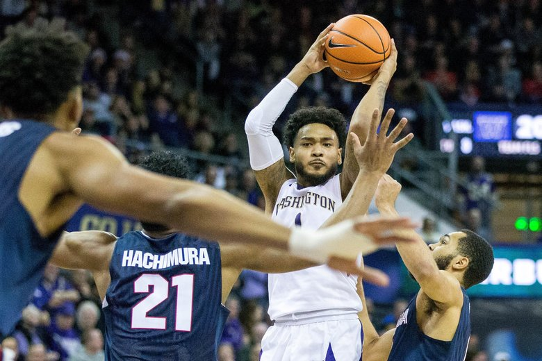 Washington Huskies guard David Crisp (1) looks over the Gonzaga Bulldogs defense during the first half at Alaska Airlines Arena in Seattle, on Sunday, Dec. 10, 2017. Gonzaga Bulldogs won 97-70.   204514 (Courtney Pedroza / The Seattle Times)