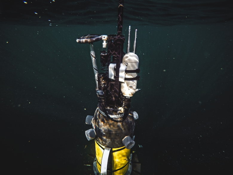 A robotic instrument called an ARGO float dives into Puget Sound during a test in November. The floats will be deployed under the Antarctic ice shelf in an experiment to gather data about melting ice. (COURTESY OF PAUL G. ALLEN)
