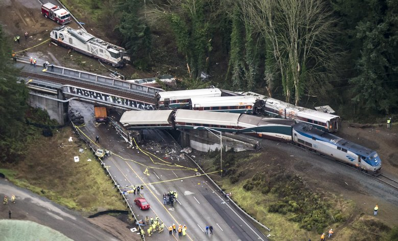 An Amtrak train derailed Monday between Lakewood and Olympia. (Bettina Hansen / The Seattle Times)