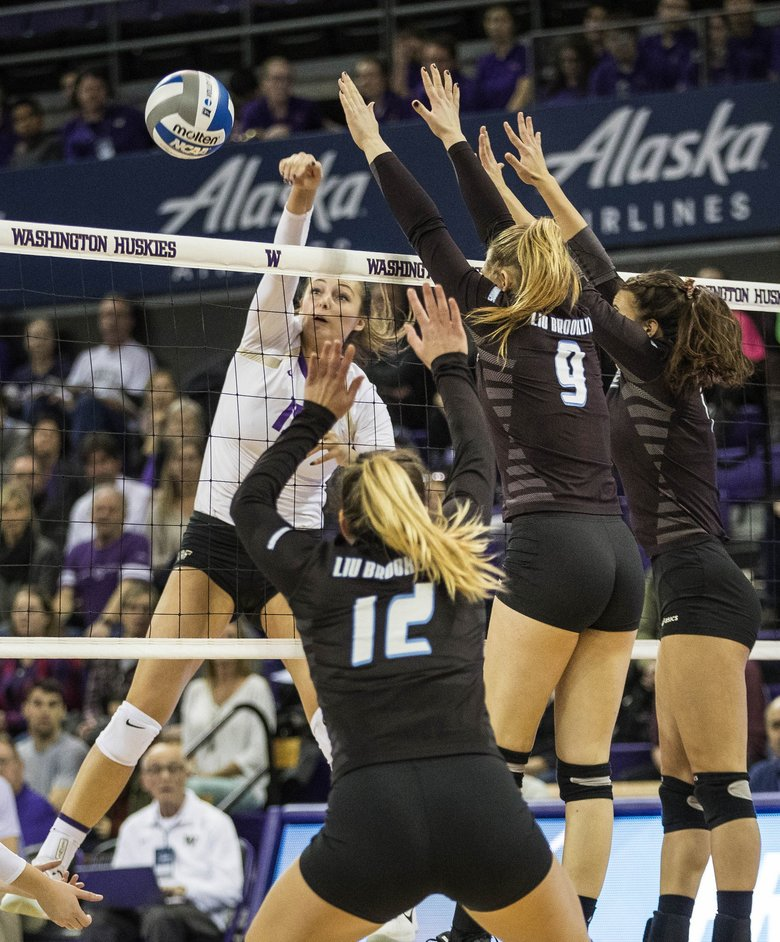 Huskies advance in NCAA volleyball tournament with high ...