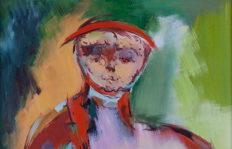"""Walter Quirt, """"Portrait of a Nervous Woman"""" (1958), oil on canvas. (PHOTO CREDIT: Terry Rishel, courtesy of Frederick Holmes and Company)"""