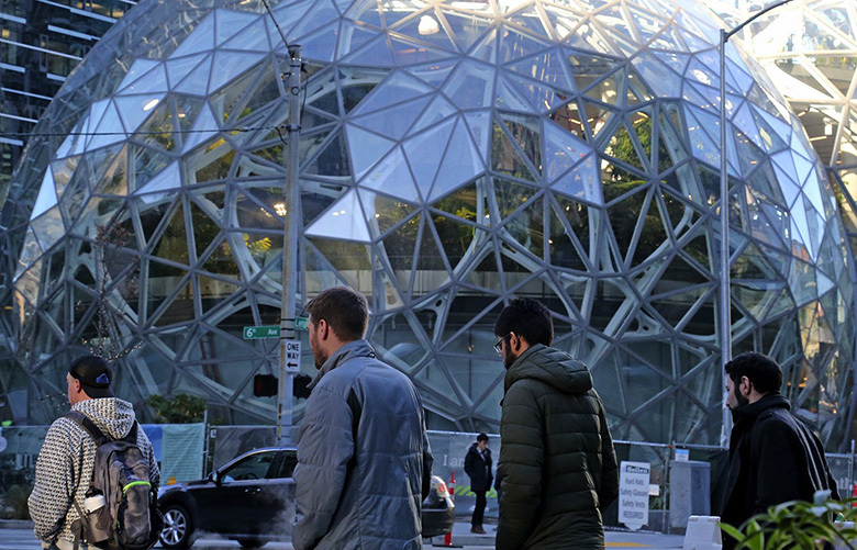 On Thursday, December 7, 2017, the Amazon Spheres are located on the North side of Lenora Street between 6th and 7th avenue.