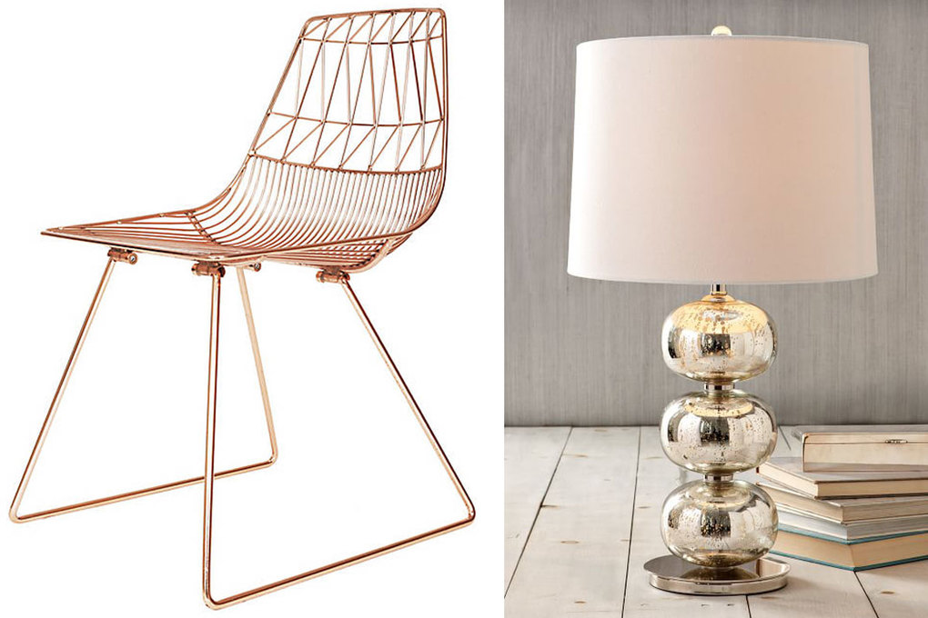 Bend Goods Lucy Side Chair, $450 at bendgoods.com; West Elm Abacus Mercury Glass Table Lamp, $199