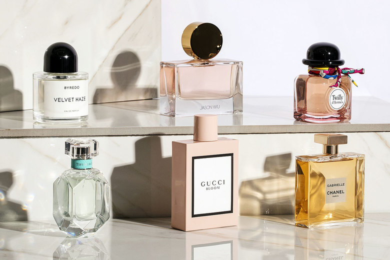Clockwise from top left: Byredo Velvet Haze, $150–$230; Jason Wu, $70–$145; Twilly d'Hermès, $79–$130; Chanel Gabrielle, $105–$135; Gucci Bloom, $72–$124; Tiffany & Co. Tiffany, $75–$130