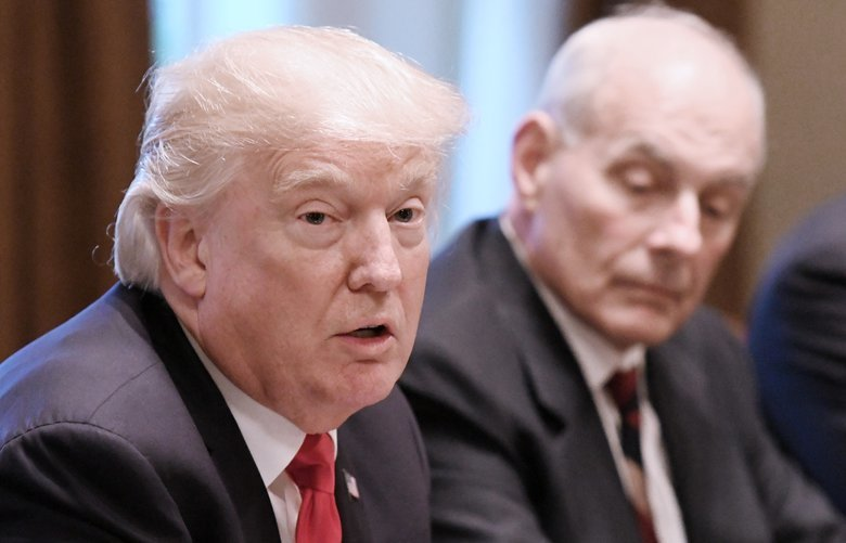 President Donald Trump speaks as White House chief of staff John Kelly looks on during a briefing with senior military leaders in the Cabinet Room at the White House in Washington, D.C., on October 5, 2017. (Olivier Douliery/Abaca Press/TNS) 1220785 1220785