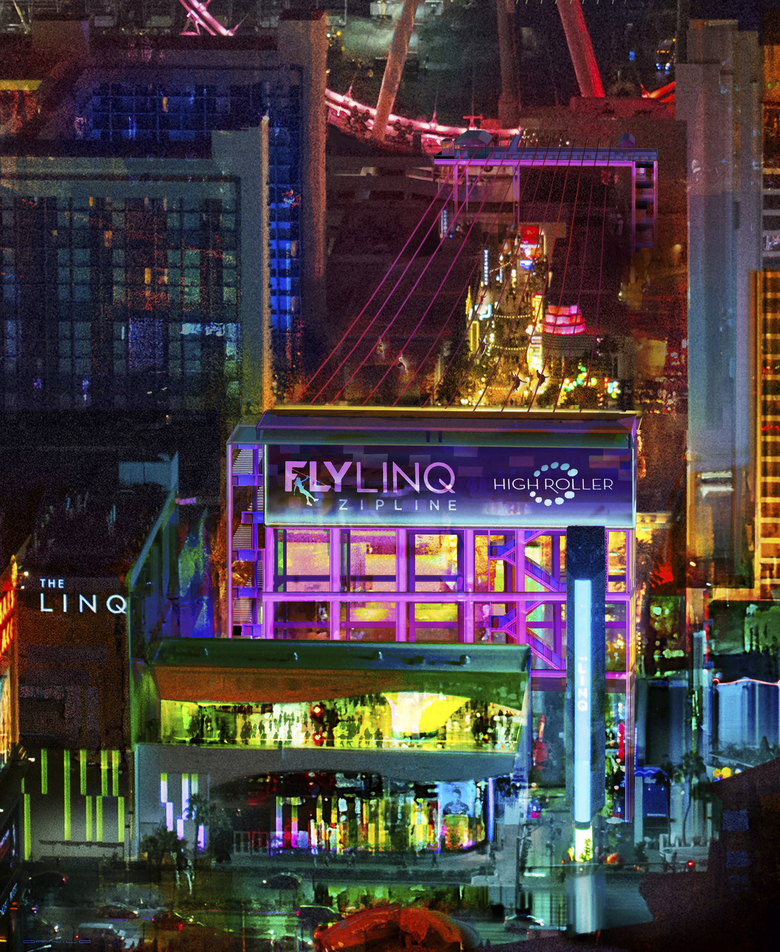 This rendering provided by Caesars Entertainment depicts a 1,050-foot-long zip-line that the casino operator will build above its outdoor promenade that's anchored by the Linq hotel-casino in Las Vegas. Set to open in 2018, the attraction will join the city's entertainment repertoire geared toward millennials.  (The Associated Press)