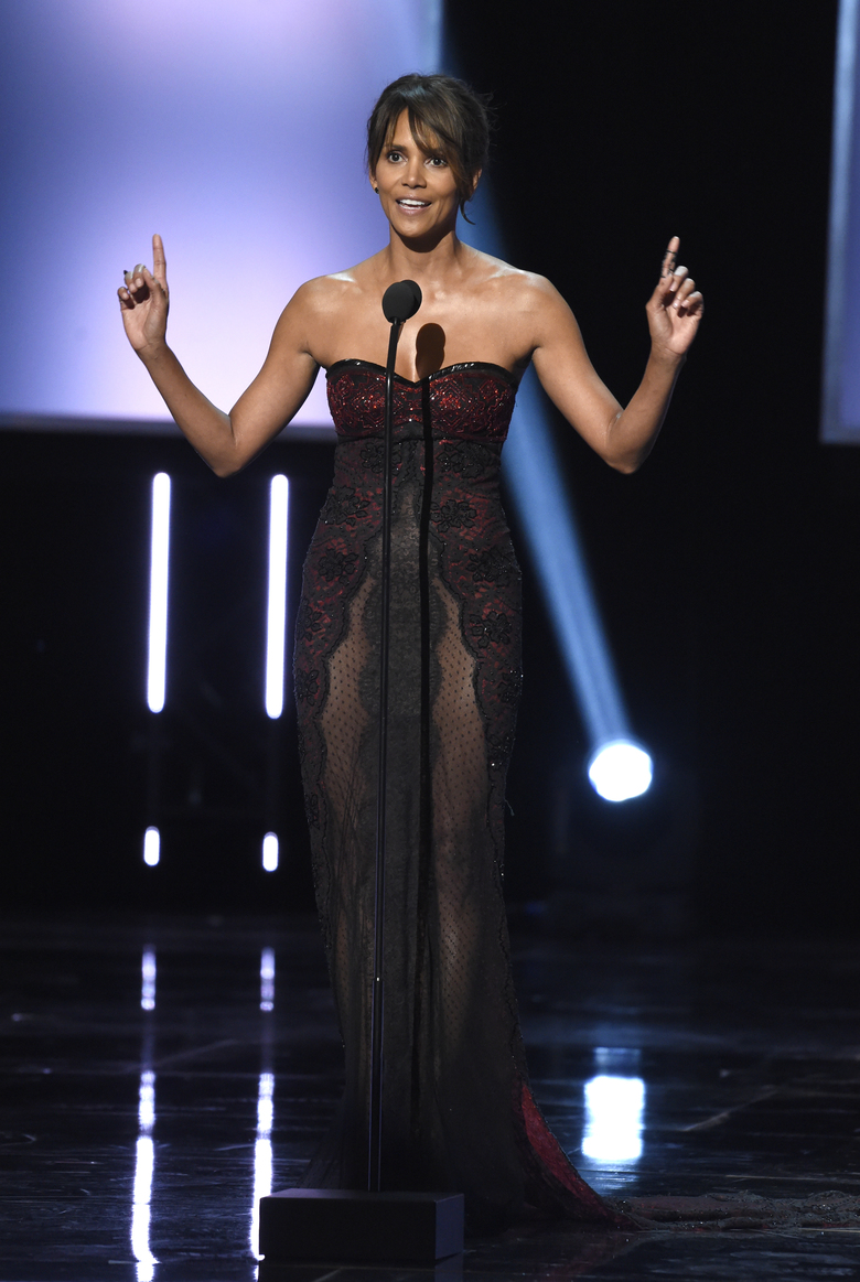 Halle Berry presents the Music Makes a Difference Honor at the 49th annual NAACP Image Awards at the Pasadena Civic Auditorium on Monday, Jan. 15, 2018, in Pasadena, Calif. (Photo by Chris Pizzello/Invision/AP)
