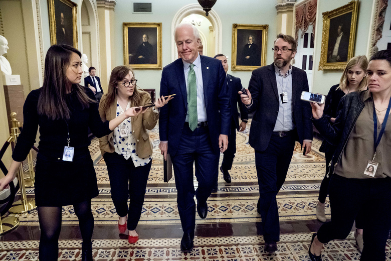 Senate Majority Whip Sen. John Cornyn, R-Texas, speaks to reporters as he walks to the Senate Chamber at the Capitol in Washington, Monday, Jan. 22, 2018, after the Senate reached an agreement to advance a bill ending government shutdown. (AP Photo/Andrew Harnik)