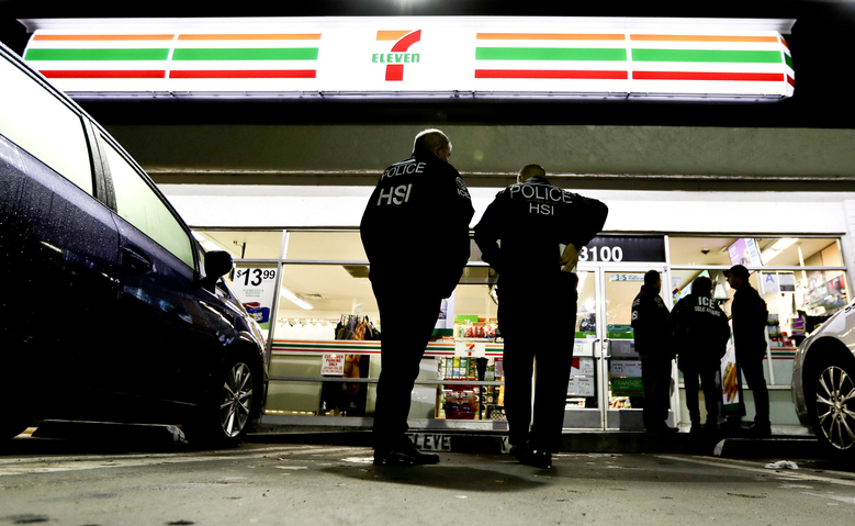U.S. Immigration and Customs Enforcement agents targeted about 100 7-Eleven stores nationwide to open employment audits and interview workers. (Chris Carlson/AP)